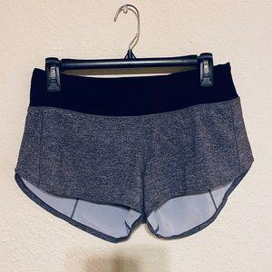 Like new lululemon gray shorts with lining size 6